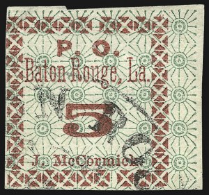 Sale Number 1026, Lot Number 1932, Civil War and Confederate States thru Hawaii: Stamps and CoversBaton Rouge La., 5c Green & Carmine (11X2), Baton Rouge La., 5c Green & Carmine (11X2)
