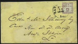 Sale Number 1026, Lot Number 1933, Civil War and Confederate States thru Hawaii: Stamps and CoversBaton Rouge La., 5c Green & Carmine, Maltese Cross Border (11X2), Baton Rouge La., 5c Green & Carmine, Maltese Cross Border (11X2)