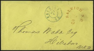 Sale Number 1026, Lot Number 1936, Civil War and Confederate States thru Hawaii: Stamps and CoversRaleigh N.C., 5c Red entire (68XU1), Raleigh N.C., 5c Red entire (68XU1)