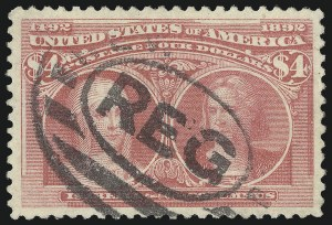 Sale Number 1027, Lot Number 129, Columbian Issue (Scott 230-245)$4.00 Rose Carmine, Columbian (244a), $4.00 Rose Carmine, Columbian (244a)