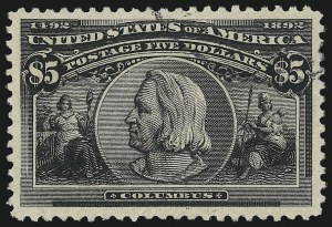 Sale Number 1027, Lot Number 130, Columbian Issue (Scott 230-245)$5.00 Columbian (245), $5.00 Columbian (245)