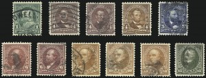 Sale Number 1027, Lot Number 158, 1898 Bureau Issue Change of Colors (Scott 279-283)1c-15c 1898 Issue (279, 280, 280a, 280b, 281, 282, 282a, 282C, 283, 283a, 284), 1c-15c 1898 Issue (279, 280, 280a, 280b, 281, 282, 282a, 282C, 283, 283a, 284)