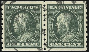 Sale Number 1028, Lot Number 361, 1910-13 Perf 8-1/2 Single-Line Watermark Coil Issue (Scott 390-396)1c Green, Coil (392), 1c Green, Coil (392)