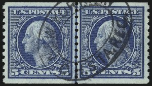 Sale Number 1028, Lot Number 404, 1914-16 Rotary Press Issues (Scott 448-459)5c Blue, Coil (458), 5c Blue, Coil (458)