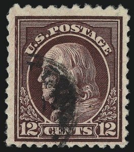 Sale Number 1028, Lot Number 435, 1917-19 Perf 11 Unwatermarked Issue (Scott 498-518b)12c Claret Brown, Perf 10 at Top (512b), 12c Claret Brown, Perf 10 at Top (512b)