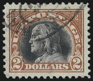 Sale Number 1028, Lot Number 442, 1917 Perf 11 Single-Line Watermark Issue, 1918-20 Issues (Scott 519-524)$2.00 Orange Red & Black (523), $2.00 Orange Red & Black (523)