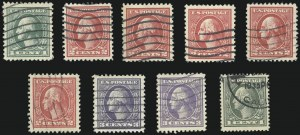 Sale Number 1028, Lot Number 445, 1918-20 Offset Printing Issues (Scott 525-536)1c-3c 1918-20 Offset Issues (525a, 526-530, 536), 1c-3c 1918-20 Offset Issues (525a, 526-530, 536)
