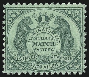 Sale Number 1030, Lot Number 504, Private Die Match Stamps: Akron thru T. Gormon & Bro.Thos. Allen, 1c Green, Old Paper (RO5a), Thos. Allen, 1c Green, Old Paper (RO5a)