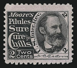 Sale Number 1030, Lot Number 747, Private Die Medicine Stamps: Thomas W. Mardsen thru A. L. Scovill & Co.Dr. C. C. Moore, 2c Black, Pink Paper (RS184c), Dr. C. C. Moore, 2c Black, Pink Paper (RS184c)