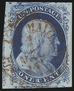 Sale Number 1032, Lot Number 3018, 1c 1851-56 Issue (Scott 5A-9)1c Blue, Ty. II (7), 1c Blue, Ty. II (7)