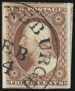 Sale Number 1032, Lot Number 3032, 3c 1851-56 Issue (Scott 10-11A)3c Claret, Ty. I (11), 3c Claret, Ty. I (11)