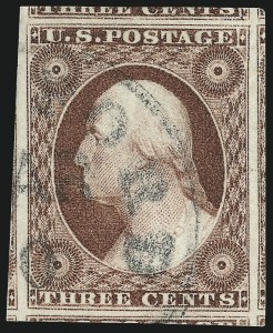 Sale Number 1032, Lot Number 3034, 3c 1851-56 Issue (Scott 10-11A)3c Deep Claret, Ty. II (11A), 3c Deep Claret, Ty. II (11A)
