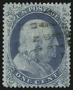 Sale Number 1032, Lot Number 3056, 1c-3c 1857-60 Issue (Scott 18-26A)1c Blue, Ty. I (18), 1c Blue, Ty. I (18)