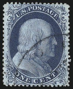 Sale Number 1032, Lot Number 3058, 1c-3c 1857-60 Issue (Scott 18-26A)1c Blue, Ty. II (20), 1c Blue, Ty. II (20)