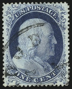 Sale Number 1032, Lot Number 3061, 1c-3c 1857-60 Issue (Scott 18-26A)1c Blue, Ty. IV (23), 1c Blue, Ty. IV (23)