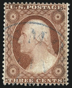 Sale Number 1032, Lot Number 3066, 1c-3c 1857-60 Issue (Scott 18-26A)3c Brownish Carmine, Ty. I (25), 3c Brownish Carmine, Ty. I (25)