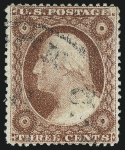 Sale Number 1032, Lot Number 3067, 1c-3c 1857-60 Issue (Scott 18-26A)3c Brownish Carmine, Ty. I (25), 3c Brownish Carmine, Ty. I (25)