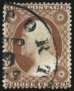 Sale Number 1032, Lot Number 3068, 1c-3c 1857-60 Issue (Scott 18-26A)3c Brownish Carmine, Ty. I (25), 3c Brownish Carmine, Ty. I (25)