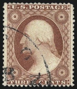 Sale Number 1032, Lot Number 3072, 1c-3c 1857-60 Issue (Scott 18-26A)3c Brownish Carmine, Ty. III (26), 3c Brownish Carmine, Ty. III (26)