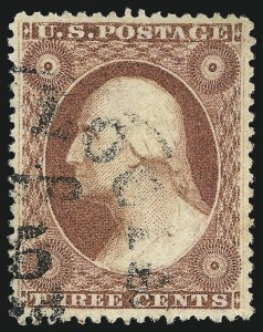 Sale Number 1032, Lot Number 3073, 1c-3c 1857-60 Issue (Scott 18-26A)3c Claret, Ty. III (26), 3c Claret, Ty. III (26)