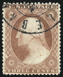 Sale Number 1032, Lot Number 3074, 1c-3c 1857-60 Issue (Scott 18-26A)3c Claret, Ty. III (26), 3c Claret, Ty. III (26)