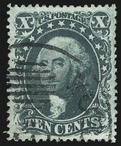 Sale Number 1032, Lot Number 3085, 5c-90c 1857-60 Issue (Scott 27-39)10c Green, Ty. II (32), 10c Green, Ty. II (32)