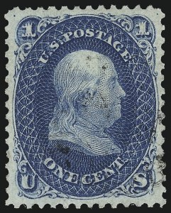 Sale Number 1032, Lot Number 3106, 1861-66 Issue (Scott 62B-67b)1c Dark Blue (63b), 1c Dark Blue (63b)