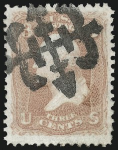 Sale Number 1032, Lot Number 3114, 1861-66 Issue (Scott 62B-67b)3c Rose (65), 3c Rose (65)