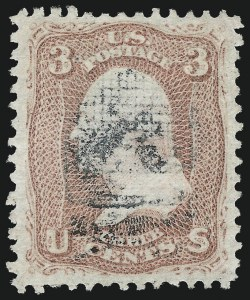 Sale Number 1032, Lot Number 3150, 1867-68 Grilled Issue, A thru Z Grills (Scott 79-85E)3c Rose, Z. Grill (85C), 3c Rose, Z. Grill (85C)