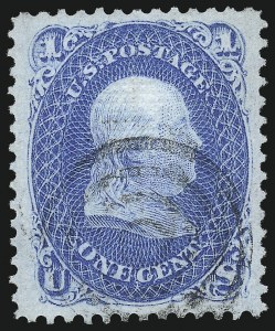 Sale Number 1032, Lot Number 3163, 1867-68 Grilled Issue, E and F Grills (Scott 86-101)1c Blue, F. Grill (92), 1c Blue, F. Grill (92)