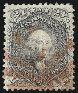 Sale Number 1032, Lot Number 3173, 1867-68 Grilled Issue, E and F Grills (Scott 86-101)24c Gray Lilac, F. Grill (99), 24c Gray Lilac, F. Grill (99)
