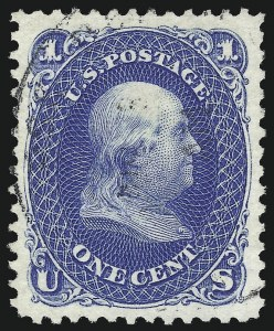 Sale Number 1032, Lot Number 3176, 1875 Re-Issue of 1861-66 Issue (Scott 102-105)1c Blue, Re-Issue (102), 1c Blue, Re-Issue (102)