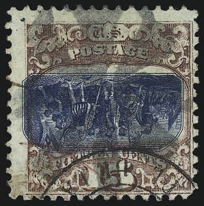 Sale Number 1032, Lot Number 3199, 1869 Pictorial Issue Inverts (Scott 119b-121b)15c Brown & Blue, Ty. II, Center Inverted (119b), 15c Brown & Blue, Ty. II, Center Inverted (119b)