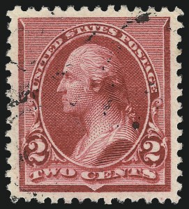 "Sale Number 1032, Lot Number 3324, 1890-93 Issue (Scott 219-229)2c Carmine, Cap on Left ""2"" (220a), 2c Carmine, Cap on Left ""2"" (220a)"