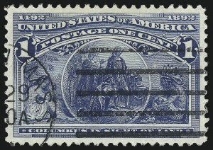 Sale Number 1032, Lot Number 3336, 1893 Columbian Issue (Scott 230-245)1c Columbian (230), 1c Columbian (230)