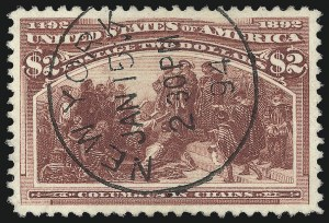 Sale Number 1032, Lot Number 3354, 1893 Columbian Issue (Scott 230-245)$2.00 Columbian (242), $2.00 Columbian (242)
