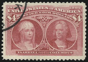 Sale Number 1032, Lot Number 3358, 1893 Columbian Issue (Scott 230-245)$4.00 Columbian (244), $4.00 Columbian (244)