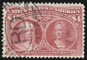 Sale Number 1032, Lot Number 3359, 1893 Columbian Issue (Scott 230-245)$4.00 Rose Carmine, Columbian (244a), $4.00 Rose Carmine, Columbian (244a)