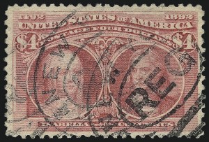 Sale Number 1032, Lot Number 3360, 1893 Columbian Issue (Scott 230-245)$4.00 Rose Carmine, Columbian (244a), $4.00 Rose Carmine, Columbian (244a)