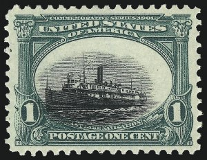 Sale Number 1032, Lot Number 3424, 1901 Pan-American Issue (Scott 294a, 294-299)1c Pan-American (294), 1c Pan-American (294)