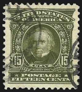 Sale Number 1032, Lot Number 3438, 1902-08 Issues (Scott 300-320c)15c Olive Green (309), 15c Olive Green (309)