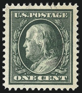 Sale Number 1032, Lot Number 3483, 1909 Commemoratives and 1908-12 Washington-Franklin Issues (Scott 367-396)1c Green (374), 1c Green (374)