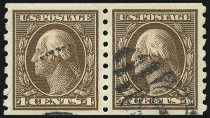 Sale Number 1032, Lot Number 3498, 1909 Commemoratives and 1908-12 Washington-Franklin Issues (Scott 367-396)4c Brown, Coil (395), 4c Brown, Coil (395)