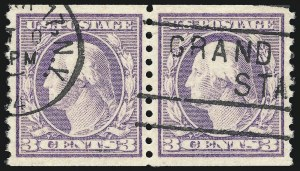 Sale Number 1032, Lot Number 3582, 1917-18 Washington-Franklin Issues (Scott 483-524)3c Violet, Ty. I, Coil (493), 3c Violet, Ty. I, Coil (493)