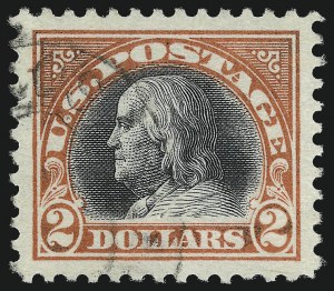 Sale Number 1032, Lot Number 3608, 1917-18 Washington-Franklin Issues (Scott 483-524)$2.00 Orange Red & Black (523), $2.00 Orange Red & Black (523)