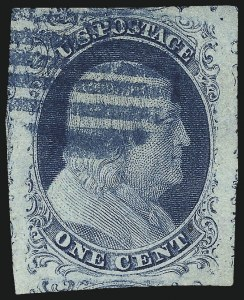 Sale Number 1033, Lot Number 4006, 1851-60 Issues (Scott 7-39)1c Blue, Ty. II (7), 1c Blue, Ty. II (7)