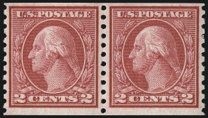 Sale Number 1033, Lot Number 4228, 1913 Panama Pacific thru Later Issues (Scott 400-679)2c Carmine Rose, Ty. I, Coil (453), 2c Carmine Rose, Ty. I, Coil (453)