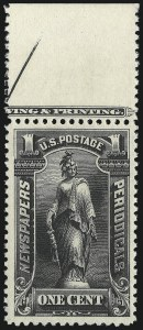 Sale Number 1033, Lot Number 4362, Newspapers and Periodicals1c Black, 1895 Issue (PR102), 1c Black, 1895 Issue (PR102)