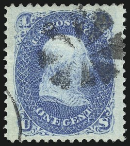 Sale Number 1034, Lot Number 103, 1867-68 Grilled Issue (Scott 79-101)1c Blue, F. Grill (92), 1c Blue, F. Grill (92)