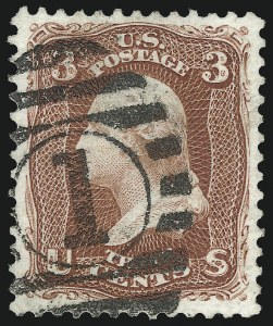 Sale Number 1034, Lot Number 116, 1875 Re-Issue of 1861-66 Issue (Scott 102-111)3c Brown Red, Re-Issue (104), 3c Brown Red, Re-Issue (104)